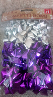 Pack of 20 assorted confetti bows (Code 3236)